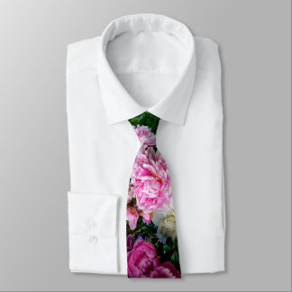 Rosa und weiße Pfingstrosen Krawatte