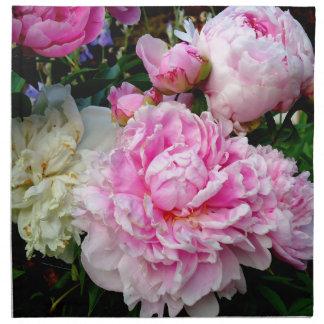 Rosa und weiße Pfingstrosen Stoffserviette