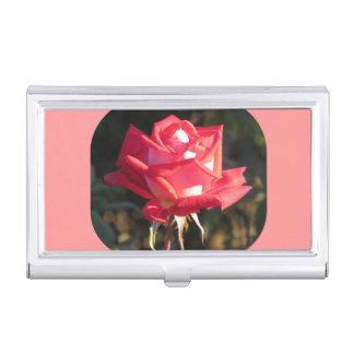 Rosa und weiße Rose Visitenkarten Dose