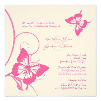 Rosa und weiße Schmetterlings-Hochzeits-Einladung