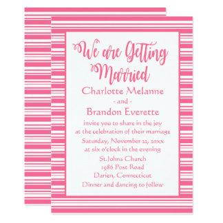 Rosa und weiße Streifen, die Typografie Wedding Karte