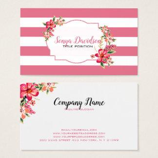 Rosa und weiße Streifen Visitenkarte
