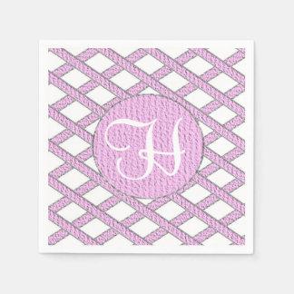 Rosa- und weißekreuzweise Monogrammservietten Papierserviette