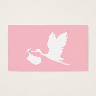 Rosa und weißer Fliegen-Storch Visitenkarten
