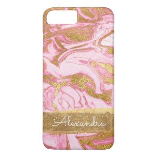 Rosa und weißer Marmor mit Goldfolie und -Glitzer iPhone 8 Plus/7 Plus Hülle