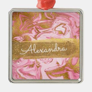 Rosa und weißer Marmor mit Goldschein u. -Glitzer Silbernes Ornament