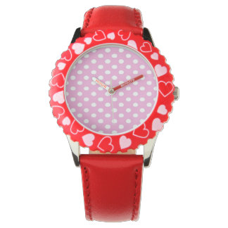Rosa und weißer Punkt Uhr
