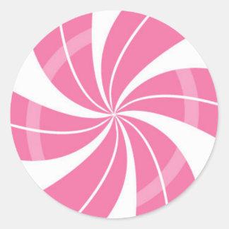 Rosa und weißer Süßigkeitsstrudel, Runder Aufkleber