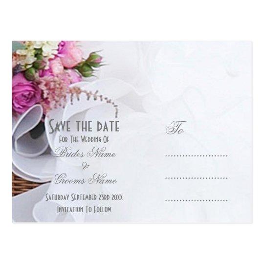 Rosa- und weißerblumenhochzeit Posy Save the Date Postkarte