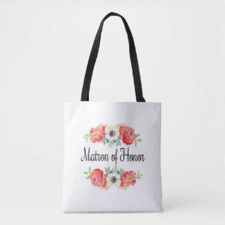 Rosa und weißes Aquarell-Blumenmatrone der Ehre Tasche