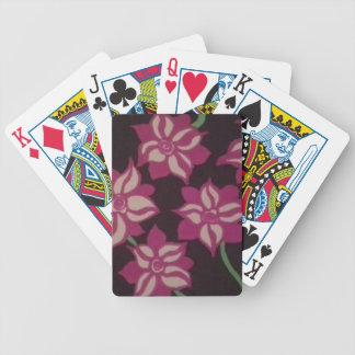 Rosa und weißes Dahlie-Muster Bicycle Spielkarten