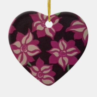 Rosa und weißes Dahlie-Muster Keramik Herz-Ornament