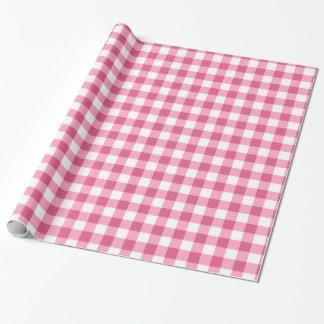 Rosa und weißes Gingham-Karo-Muster Geschenkpapier