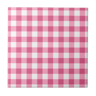 Rosa und weißes Gingham-Karo-Muster Keramikfliese