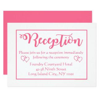 Rosa und weißes Hochzeits-Empfangs-Party Karte
