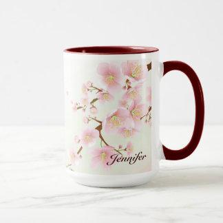 Rosa und weißes Kirschblüten-Natur-Monogramm Tasse