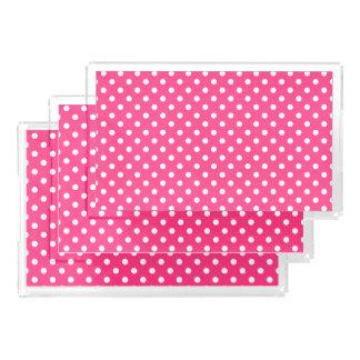 Rosa und weißes Tupfen-Muster Acryl Tablett