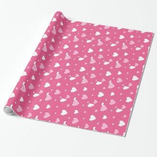 Rosa und weißes Valentinstag-Packpapier Geschenkpapierrolle
