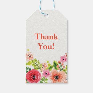 Rosa- und weißesblumen danken Ihnen Geschenkumbau Geschenkanhänger