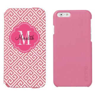 Rosa-und weißesgriechisches Schlüsselmonogramm Incipio Watson™ iPhone 6 Geldbörsen Hülle