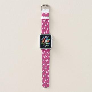Rosa-und weißesmit Monogramm Apple Watch Armband