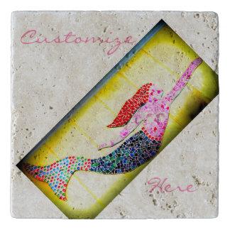 rosa Unterwassermosaikmeerjungfrau Töpfeuntersetzer