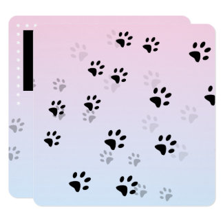 Rosa unverschämte Katzen-Abdrücke Quadratische 13,3 Cm Einladungskarte