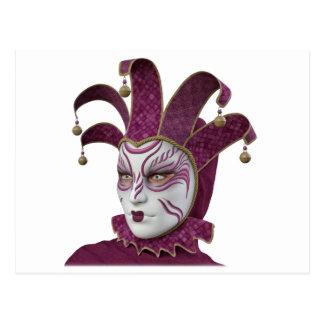 Rosa venezianische Carnivale Maske im Profil Postkarte