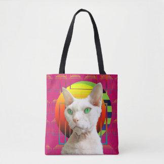 Rosa verrückte Katzen-Entwurf Sphynx Katze und Tasche