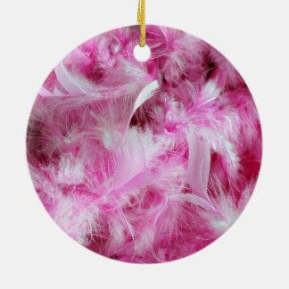 Rosa versieht Hintergrund mit Federn Rundes Keramik Ornament