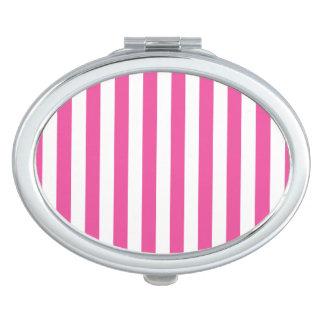 Rosa vertikale Streifen Taschenspiegel