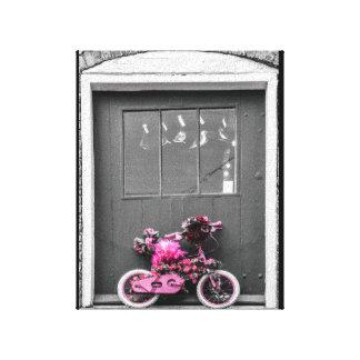 Rosa verzierte das Fahrrad des Kindes Leinwand Druck