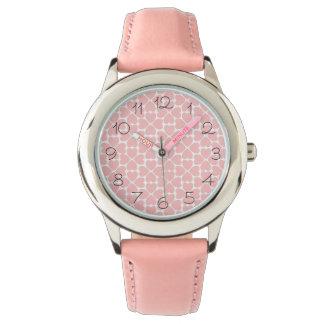 Rosa-vierblättriges Kleeblatt Herzen Armbanduhr