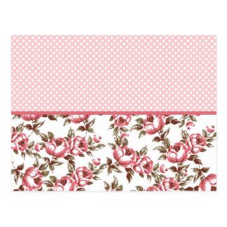 Rosa Vintage Blumen und Polka-Punkte Postkarte