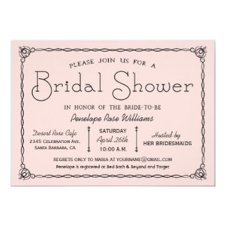 Rosa Vintage Brautparty-Einladungen 12,7 X 17,8 Cm Einladungskarte