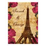 Rosa Vintage Eiffel-Turm Paris-Hochzeit laden ein Einladungen