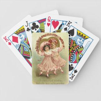 Rosa Vintage Freundschaft des Valentines Tages Bicycle Spielkarten