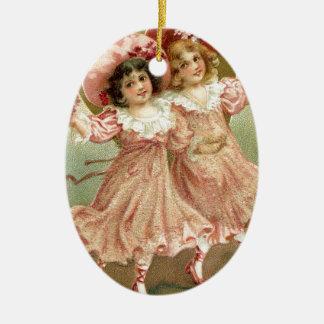 Rosa Vintage Freundschaft des Valentines Tages Ovales Keramik Ornament