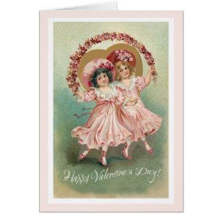 Rosa Vintage Freundschafts-Karte des Valentines Karte
