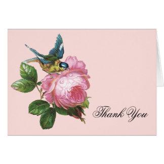 Rosa Vintage Rose danken Ihnen Anmerkungs-Karte Karte