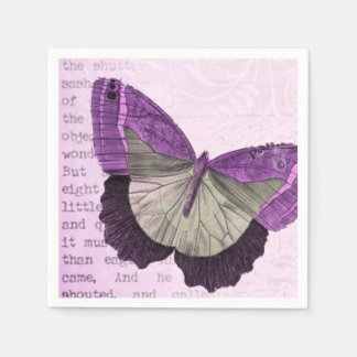 Rosa Vintage Schmetterlingsillustration Papierserviette