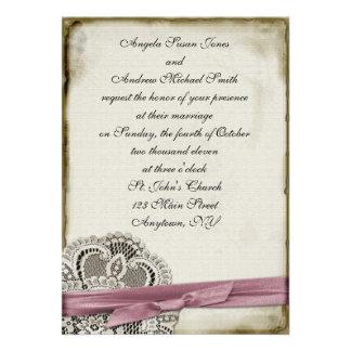 Rosa Vintage Spitze-Einladung Laura
