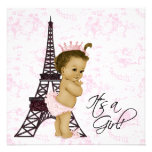 Rosa Vintage Toile Paris Baby-Mädchen-Dusche Einladungskarte
