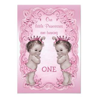 Rosa Vintager 1. Geburtstag Prinzessin-Twins 12,7 X 17,8 Cm Einladungskarte