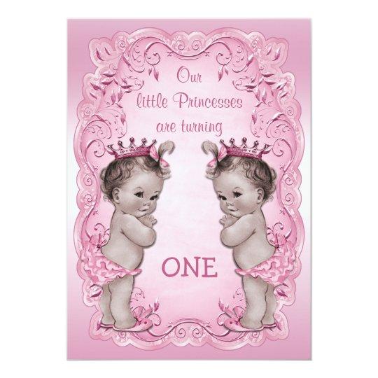 Rosa Vintager 1 Geburtstag Prinzessin Twins Einladung Zazzle