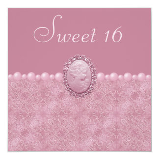 Rosa Vintager Miniatur-u. Perlen-Bonbon 16 Quadratische 13,3 Cm Einladungskarte