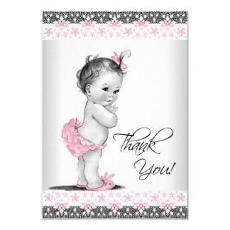 Rosa Vintages Baby-Mädchen danken Ihnen 8,9 X 12,7 Cm Einladungskarte