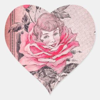 Rosa Vintages Bild Rosen-Damen-Heart Sticker  