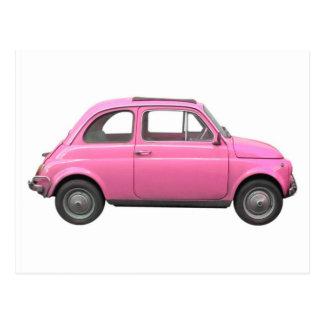 Rosa Vintages italienisches Auto Fiats 500 Postkarte