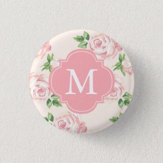 Rosa Vintages Rosen-Muster mit Monogramm Runder Button 2,5 Cm